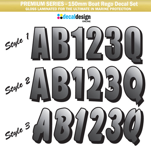 Boat Registration Grey printed (Premium) - 150mm high LAMINATED!