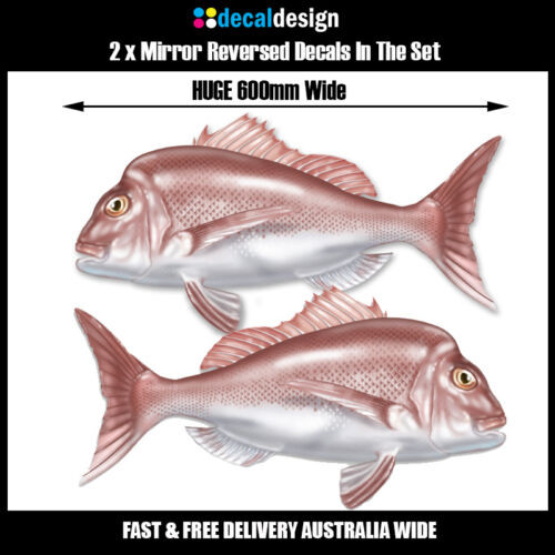 Snapper Boat Decals x 2 HUGE 60cm Mirrored Pair fish sticker