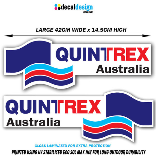 Quintrex Boat Decal Set 42cm Wide Gloss Laminated Vinyl stickers x 2 #Q001