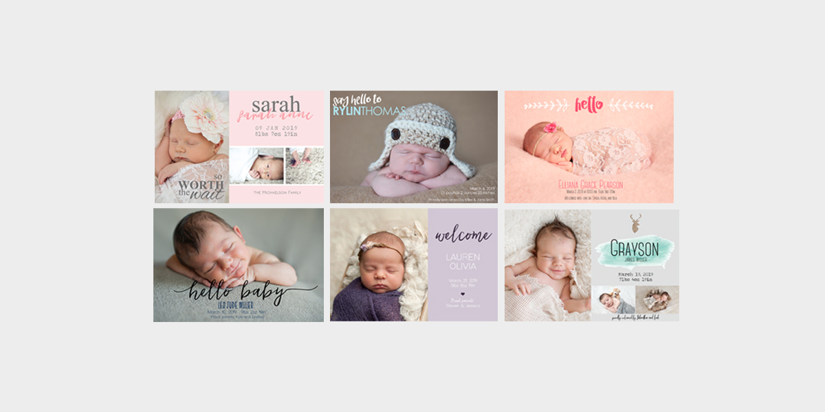 Baby Announcement Cards by Pink Dot Design