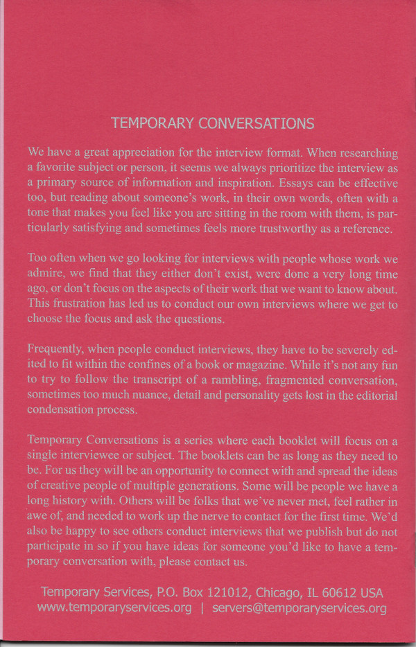 Back Cover of Temporary Conversations: The Dicks