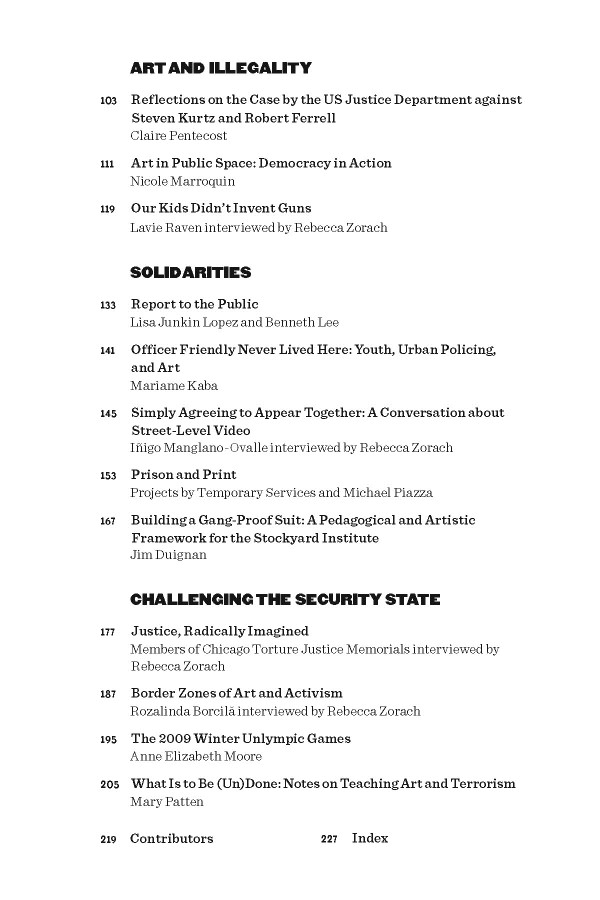 Art Against the Law—Table of Contents