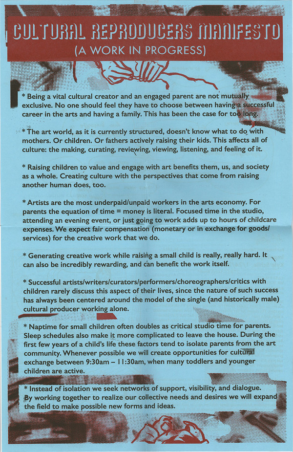 Cultural ReProducers Manifesto on a 11x17 fold out poster stapled in the booklet