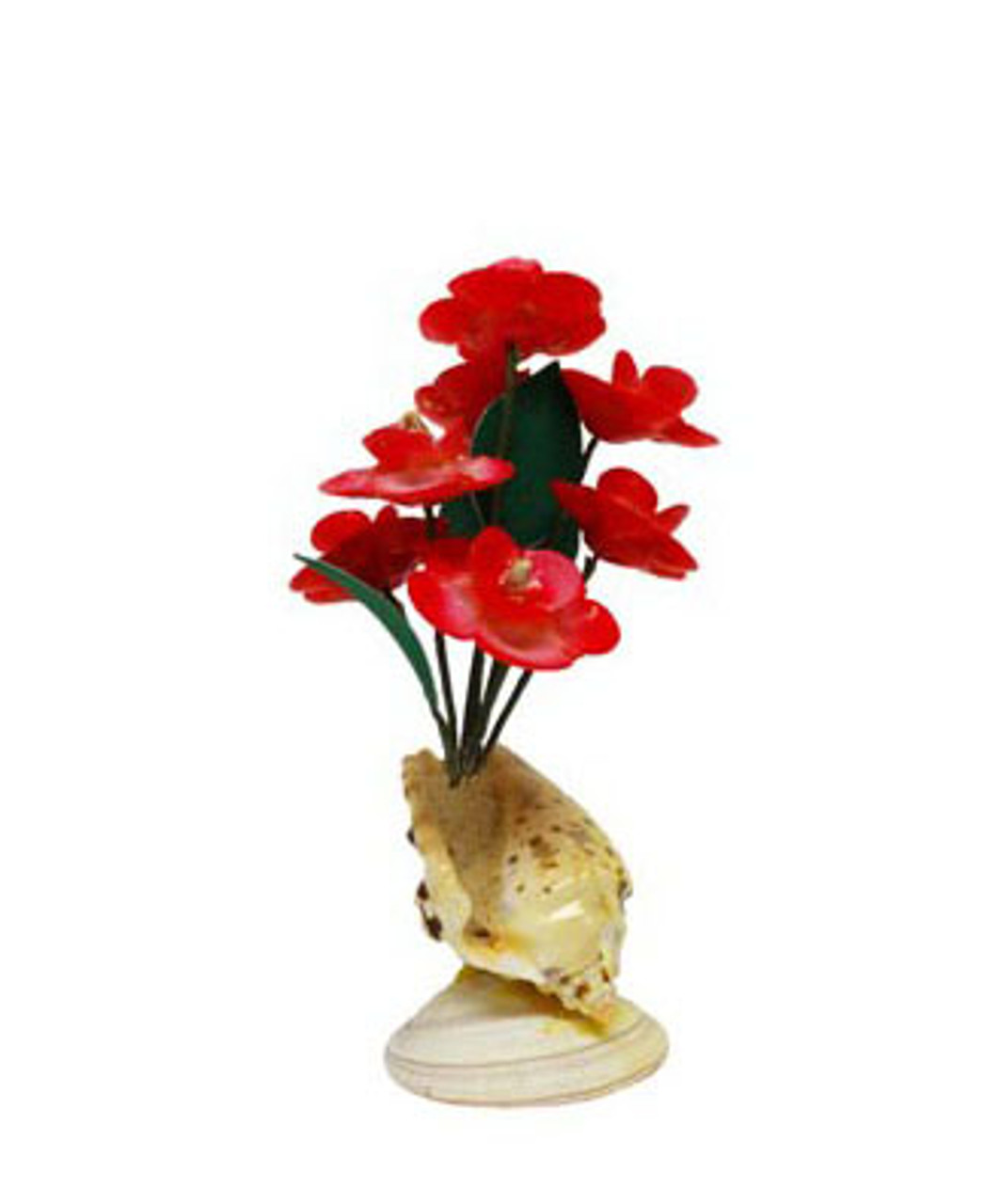 Red Flower Arrangement With Seashells