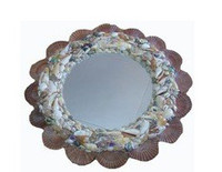 Round Mirror with Flat Seashells