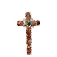 Cross with Brown Pecten Nobilis Seashells