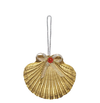 Flat Gold Seashell Ornament