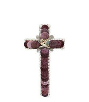Cross with Violet Pecten Seashells