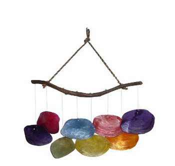 Saddle Oyster Windchime Ass't Colors 12""