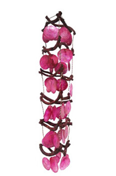 Curly Vine With Pink Saddle Oyster Seashells Chime