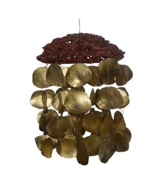 Round Butai W/Dyed Gold Saddle Oyster Windchime