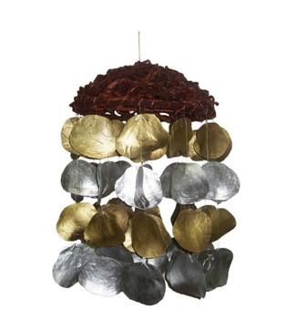 Round Butai W/Dyed Silver & Gold Saddle Oyster Windchime