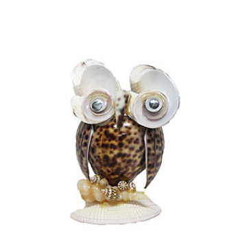 Tiger Cowrie Owl Pen Holder
