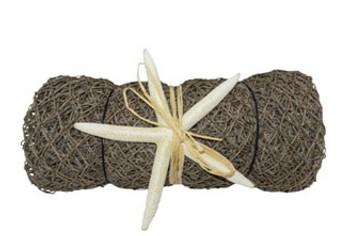 Decorative Net Roll W/White Finger Starfish