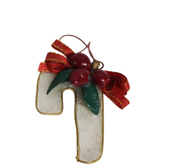 Capiz Candy Cane Ornament W/Berries