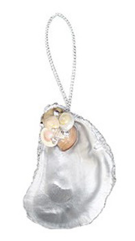 Painted Silver Oyster Ornament