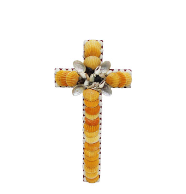 Cross with Orange Pecten Seashells