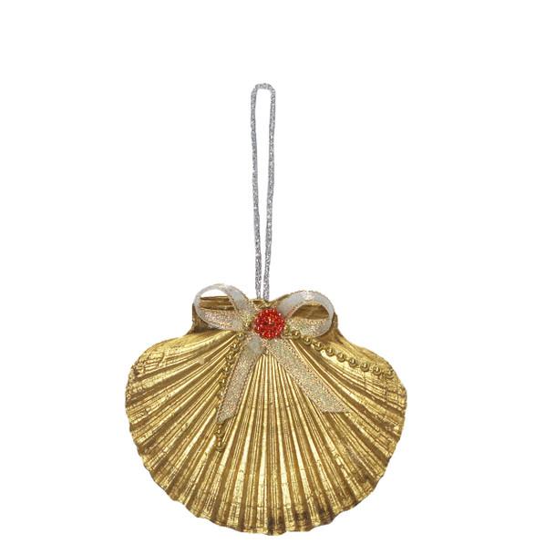 Flat Gold Seashell Ornament