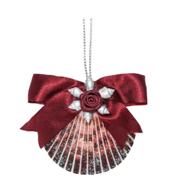 Pecten with Red Rose Ornament