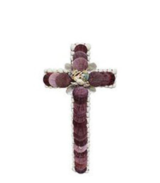 Cross with Violet Pecten Seashells