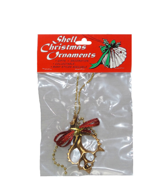 Gold Sliced Pink Murex Seashell Ornament
