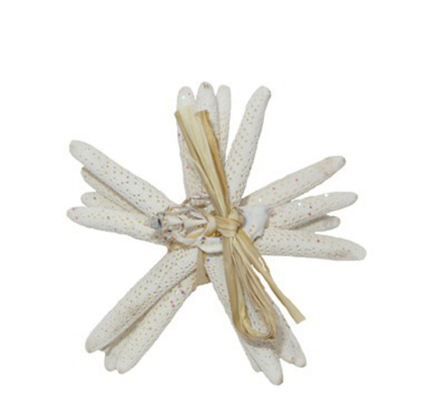 "White Finger Star Bundle W/Glitter 4 - 5""  Set of 4- W/Raffia & Slice Tie"