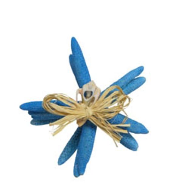 "White Finger Star Bundle 6- 7 ""- Placid Blue- Set of 4 W/Raffia & Slice Tie"