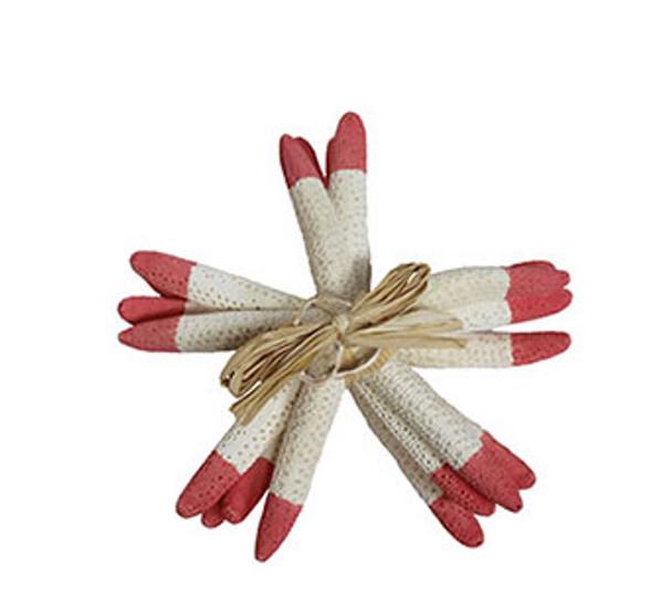 "White Finger Star Bundle 6-7""-Tip Dyed Fire Red- Set of 4 W/Raffia & Slice Tie"