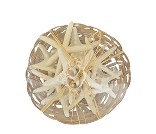 Starfish Filled Basket- 10 Piece W/Raffia & Slice Tie