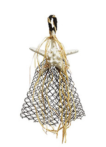White Armoured Starfish W/Raffia & Net