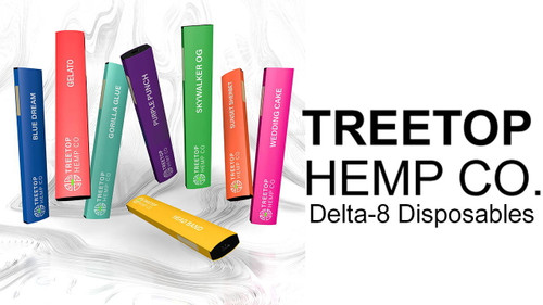 Treetop Hemp Co Delta 8 Disposable (800mg)     Flavor Profile:    Cherry Pie  Hybrid - Cross between Grandaddy Purple and Durban Poison. Flavors include Piney, Sweet, and Smoked Cherry. Users have commented that this strain makes them feel Giggly and Aroused.    Blue Dream  Sativa – Cross between Blueberry and Haze. Flavors include Sweet Berry. Users have commented that this strain makes them feel Creative and Uplifted.    Gelato  Hybrid – Cross between Sunset Sherbet and Thin Mint Girl Scout Cookies. Flavors include Citrus and Hoppy. Users have commented that this strain makes them feel Euphoric and Aroused.    Purple Punch  Indica – Cross between OG and Grandaddy Purple. Flavors include Grape Candy, Blueberry Muffins, and Tart Kool-Aid. Users have commented that this strain makes them feel Relaxed and Sleepy.    Orange Cookies  Hybrid – Cross between Orange Juice and Girl Scout Cookies. Flavors include Sweet Citrus. Users have commented that this strain makes them feel Uplifted and Happy.