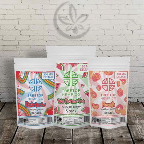 Delta 8 GUMMIES by Treetop Hemp Co. This is a 10-pack of Delta 8 Gummies. Each bag contains 300MG of Delta 8 Gummies. Each gummy is 30mg. Available in Sour Snakes, Rainbow Ribbons, Watermelon Wedges and Peach Rings.   Treetop Hemp Co Delta 8 gummies deliver a potent 30mg with a yummy fruity Rainbow flavor. You'll find a completely new mind/body experience waiting for you. These Delta 8 gummies have a bright, refreshing fruity Rainbow flavor with no earthy hemp aftertaste.  Ingredients: Sugar, Glucose-Fructose Syrup, Wheat Flour, Dextrose, Palm Oil, Malic Acid, Citric Acid, Artificial Flavors, Artificial Colors (Fd&C Red 40, Fd&C Blue 1), Turmeric Extract (Color), Antioxidants (Ascorbic Acid, Tocopherols).