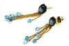 Natural Aquamarine and Blue Topaz Earrings Unique Design Solid 18K Gold