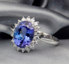 Oval Halo Tanzanite Ring AAAA Natural Full Cut Diamonds