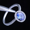 Pave Halo Tanzanite Ring Oval Cut AAAA with Natural Diamonds