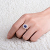 Flower Design Halo Tanzanite Ring with Natural Daimonds