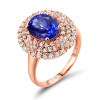 Antique Double Halo Tanzanite Diamond Ring