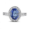 Unique Cushion Cut Elegant Tanzanite Ring AAAA with Diamonds