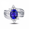 Antique Tanzanite Oval Cut Ring with Diamonds