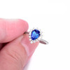 Pear Cut Classic Tanzanite Ring with Diamonds