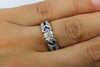 Cushion Cut Engagement Ring Vintage Style GIA Diamond & Sapphires