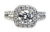 Platinum Split Shank Halo Engagement Ring 3x GIA Certified Diamond 1.1 Carat H SI2  and Wedding Band
