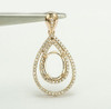 Pear 14K Gold Natural Diamond Semi Mount Pendant Setting