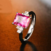 Emerald Cut Pink Topaz & Diamond Ring TT9923