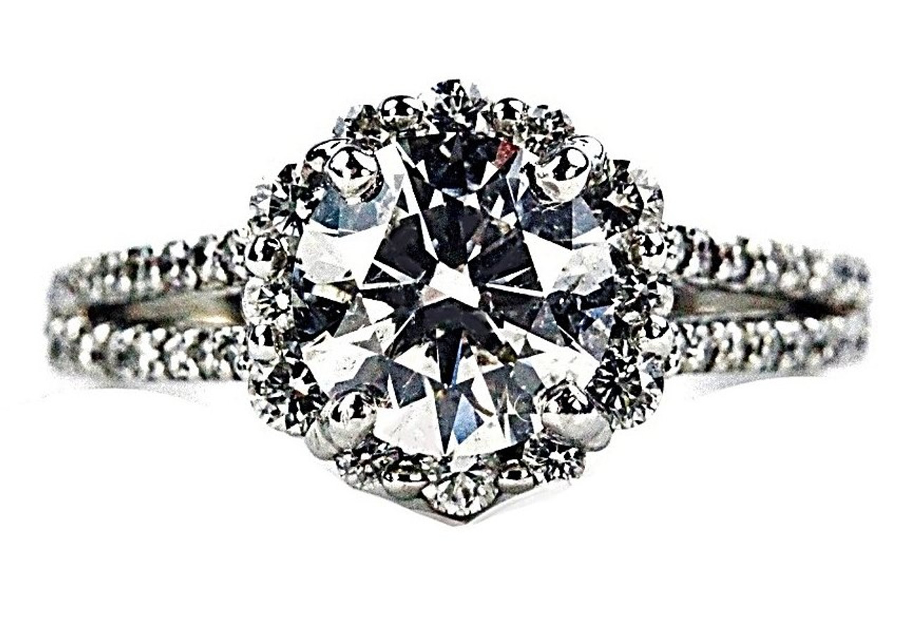 58123b1f0 Tolkowsky Ideal Round Brilliant Cut Diamond Engagement Ring - 1.59ct G SI2  Ideal Cut - Unbeatable deal 2 - Petra Gems