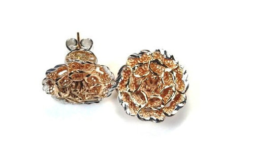 Lattice Flower Earrings 18K Rose Gold Exceptional Design and Quality Unique Style