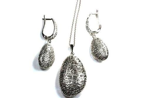Jewelry Set Lattice Earrings Pendant Necklace Unique 18K solid gold vintage modern unique style