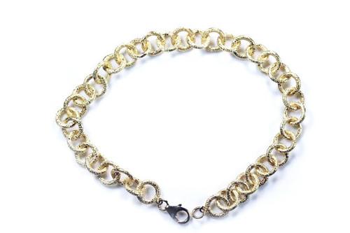 Bracelet Circular Link 18K Yellow Gold Unique Modern