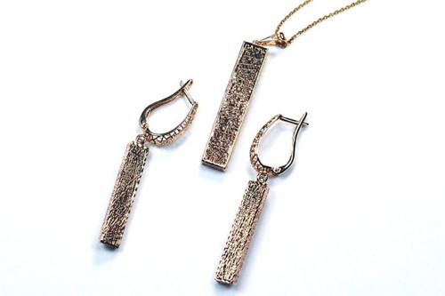 Lattice Bar Earrings and Necklace Pendant/Chain Unique Style Vintage Design