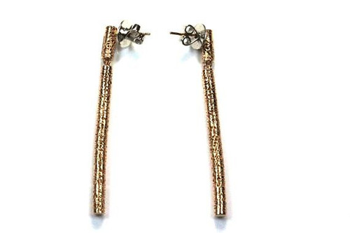 Unique Lattice Dangling Bar Earrings with Diamonds